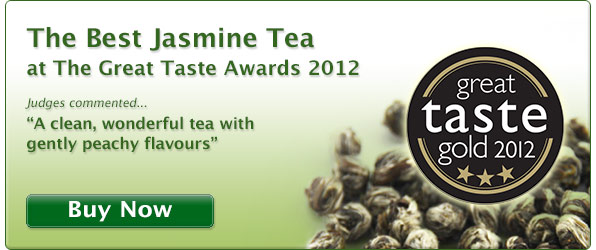 Best Jasmine Green tea at the 2012 UK Great Taste Awards. 3 gold star winning jasmine tea pearls. UK award winning online tea shop.