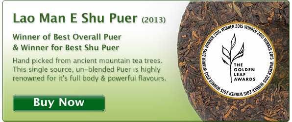 Ancient tea tree puer from the hills of Yunnan. Lao Man E single source premium puer tea.